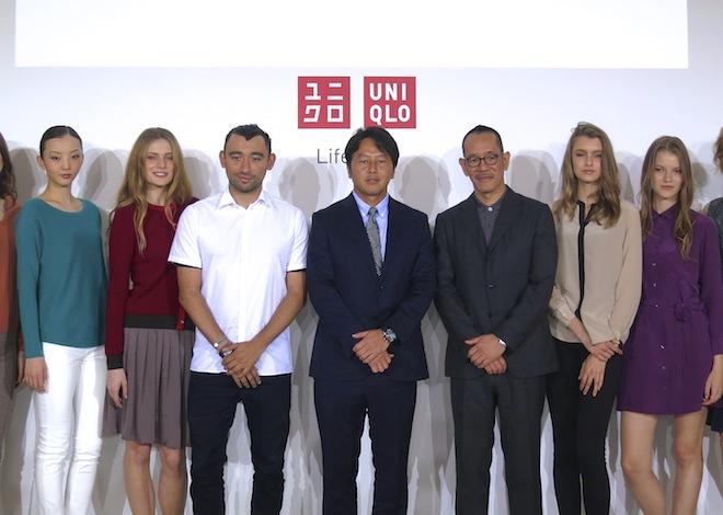 (中央左から)クリエイティブファッションディレクターNicola Formichetti、ファーストリテイリンググループ上席執行役員 國井圭浩、デザインディレクター兼アートディレクター滝沢直己