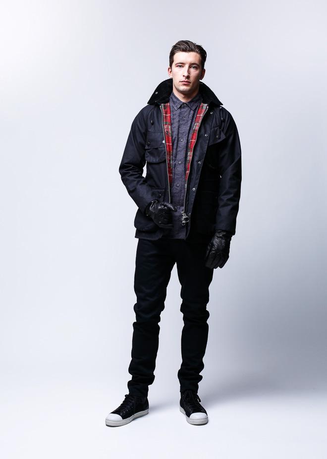 WAX COTTON HOODED JACKET ブラック ¥74,000