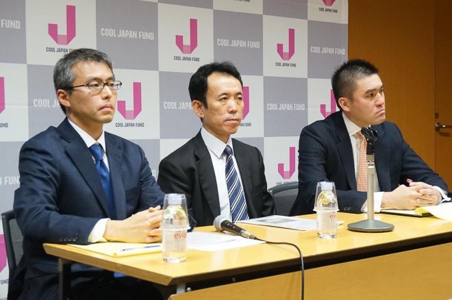 会見に出席した(左から)執行役員 杉内信夫、専務執行役員 小糸正樹、ヴァイスプレジデント 香田譲二