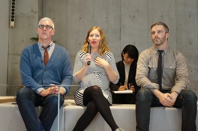 (左から)創業者のジェームス・フリーマン、創業者の妻 ケイトリン、バリスタチャンピオンのマイケル・フィリップス photo by Fashionsnap.com