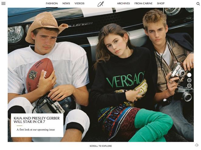 CR Fashion Bookの公式サイトより 中央:Kaia Gerber、右:Presley Walker Gerber
