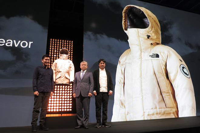 左から)Spiber 代表執行役 関山和秀、ゴールドウイン 代表取締役社長 西田明男、ゴールドウイン 専務執行役員 渡辺貴生