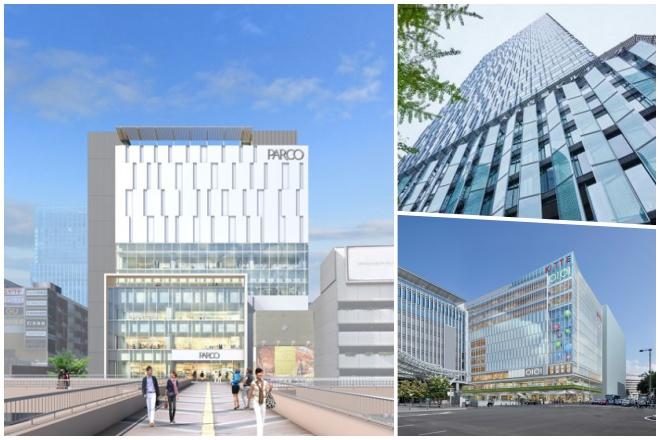 左:(仮称)仙台パルコ新館、右上:大名古屋ビルヂング、右下:KITTE博多