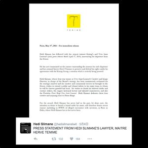 エディ・スリマン、Twitterを通じてブランド立ち上げの噂を否定