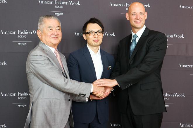 (左から)JFW推進機構 三宅正彦、Amazon Japan ジャスパー・チャン、Amazon Fashion ジェームズ・ピータース