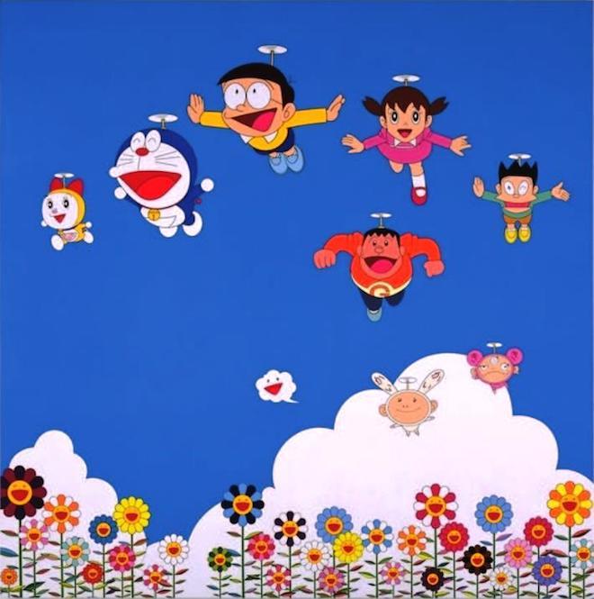 前回の「THE ドラえもん展」村上隆の出展作品 「ぼくと弟とドラえもんとの夏休み」(2002年)