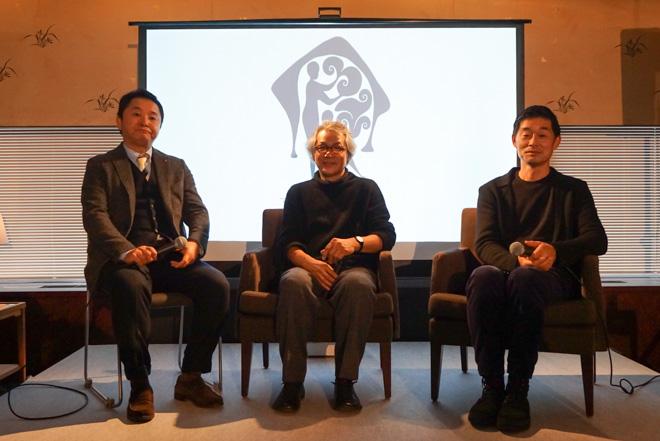 (左から)ワコールの西村良則 未来事業推進企画室室長、中村好文、皆川明