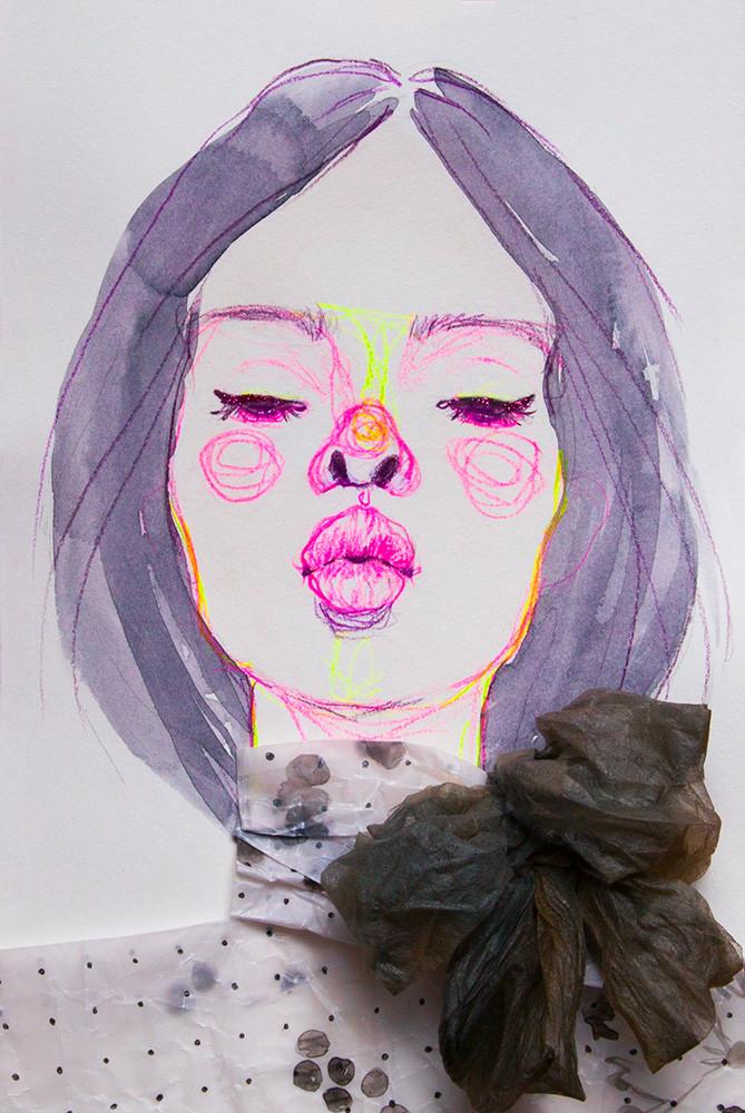 Jody Asano, Kiss ME, dress by Giambattista Valli, 2017, 258x358mm, mixed media, 20万円