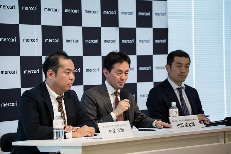 (左から)取締役社長兼COO 小泉文明、代表取締役会長兼CEO 山田進太郎、執行役員CFO 長澤啓