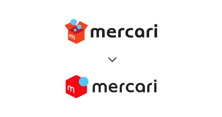 メルカリの旧ロゴ(上)と新ロゴ(