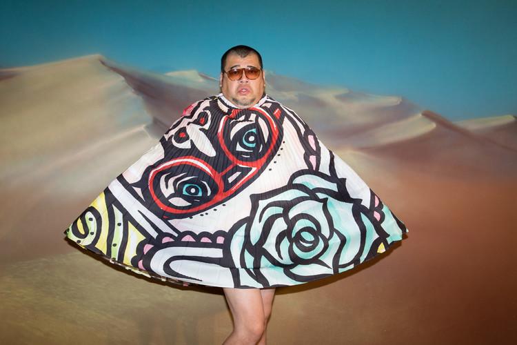 くっきーのイラストをプリントしたオリガミプリーツスカート
