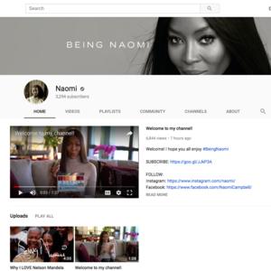 ナオミ・キャンベルがYoutuberに、BEING NAOMIチャンネルを開設