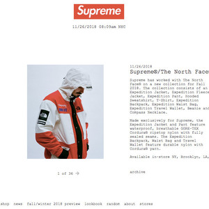 シュプリームがザ・ノース・フェイスとコラボ、ゴアテックスのジャケットなど発売