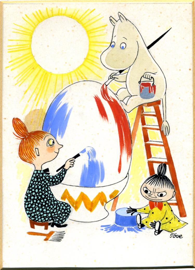 トーベ・ヤンソン≪イースターカード原画≫1940年頃 グワッシュ・インク・紙 ムーミンキャラクターズ社 ©Moomin Characters TM