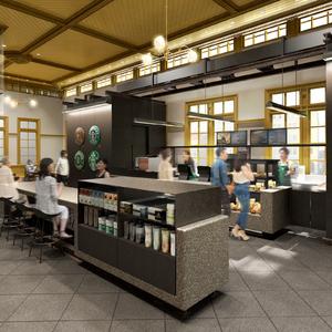 福岡の重要文化財の門司港駅1階旧三等待合室に「スターバックス コーヒー」が3月オープン